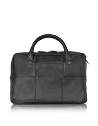 Giorgio Fedon 1919 British Black Leather Briefcase W 13 Laptop Compartment