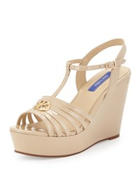 Dee Keller Skyler Patent Leather T Strap Wedge Sandal Nude