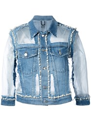 Aviu Denim Pearl Embellished Jacket Women Cotton Polyester Spandex Elastane Xs Blue