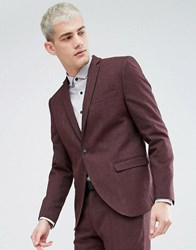 Selected Homme Skinny Suit Jacket In Twisted Yarn Red