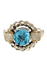Phillip Gavriel 18K Yellow Gold And Oxidized Sterling Silver Swiss Blue Topaz And Diamond Graduated Circular Top Ring
