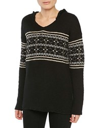 Sanctuary Embroidered Hooded Pullover Black