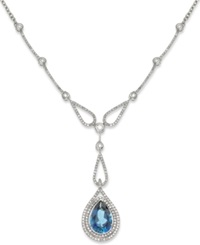 Macy's 14K White Gold Necklace London Blue Topaz 6 1 2 Ct. T.W. And Diamond 1 5 8 Ct. W. Pear Drop Pendant