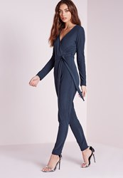 Missguided Ribbed Long Sleeve Wrap Jumpsuit Navy Blue