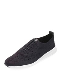 Cole Haan 2.Zerogrand Stitchlite Knit Wingtip Oxford Sneakers Black Black Optic White