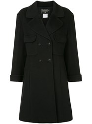 Chanel Vintage Flared Double Breasted Coat Black