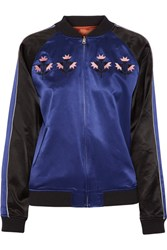 Opening Ceremony Reversible Embroidered Silk Satin Bomber Jacket Royal Blue
