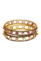 Gold Vermeil Diamond Ruby And Golden Beryl Bangles Set Of 2 Multi