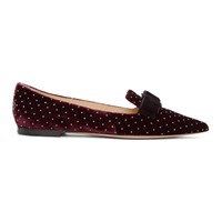 Jimmy Choo Red And Silver Velvet Spotted Loafers
