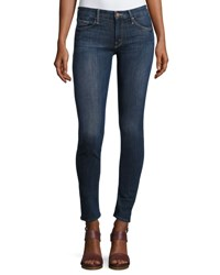 Mother Looker Mid Rise Skinny Jeans Blue Indigo