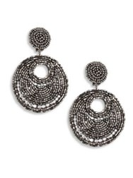 Kenneth Jay Lane Hematite And Seed Bead Clip On Earrings