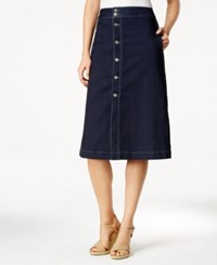Style And Co Petite Button Down Denim Midi Skirt Only At Macy's Rinse