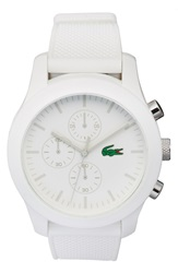 Lacoste '12.12' Chronograph Silicone Strap Watch 44Mm White