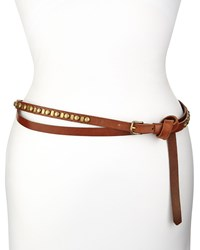 Donna Karan Leather Double Wrap Studded Belt Brown Women's