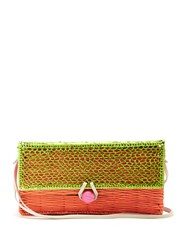 Sophie Anderson Romina Toquilla Straw Cross Body Body Green Multi