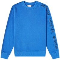 Moncler Embroidered Sleeve Logo Crew Sweat Blue