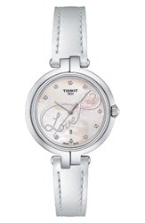 Tissot Women's Flamingo Leather Strap Watch 26Mm White Mother Of Pearl Silver