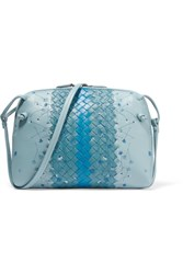 Bottega Veneta Messenger Small Embroidered Intrecciato Leather Shoulder Bag Blue