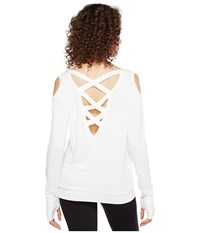Trina Turk Bamboo Terry Long Sleeve Cold Shoulder White Women's Clothing