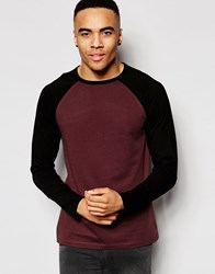 Asos Long Sleeve T Shirt With Contrast Raglan Sleeves And Logo Brown Black