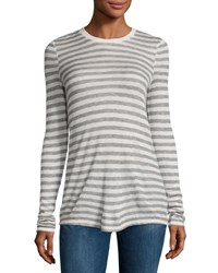 Atm Anthony Thomas Melillo Long Sleeve Striped Jersey Tee Oatmeal Gray Oatmeal Grey