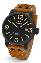 Tw Steel Men's Maverick Automatic Leather Strap Watch 48Mm Sienna Black