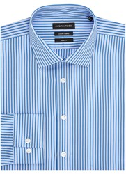 Austin Reed Stripe Slim Fit Long Sleeve Classic Collar Shirt Blue