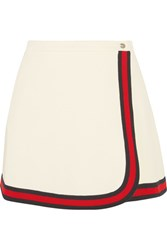 Gucci Stripe Trimmed Twill Mini Skirt Ivory