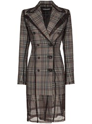 Y Project Double Breasted Check Blazer Dress Grey