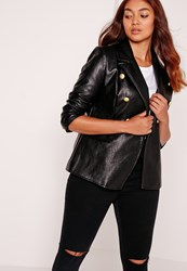 Missguided Plus Size Faux Leather Gold Button Blazer Black Black