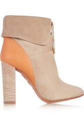 Aquazzura Cambridge Suede And Leather Ankle Boots Sand