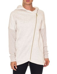 Betsey Johnson Textured Long Sleeve Hoodie Oatmeal Heather