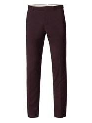 Limehaus Men's Argyll Burgundy Twill Slim Fit Trousers Red