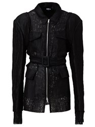 Yang Li Belted Pocket Detail Fitted Jacket Black