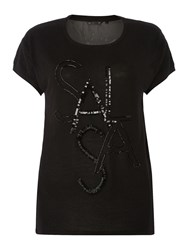 Salsa Shortsleeve Sequin Logo Top Black