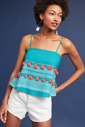 Anthropologie Tiered Tassels Tank Top Turquoise