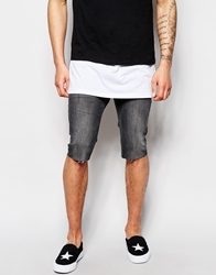 Religion Noize Skinny Fit Mid Grey Denim Shorts Greydoom