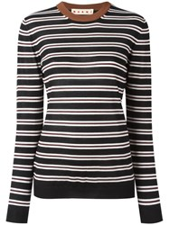 Marni Striped Crew Neck Jumper Black