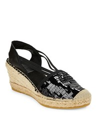 Vidorreta Mojo Sequined Fringe Platform Wedges Black