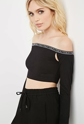 Forever 21 This Is A Love Song Off The Shoulder Crop Top Black White
