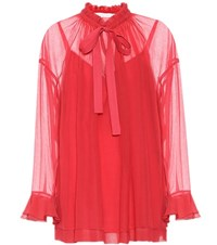 See By Chloe Cotton And Silk Blouse Red