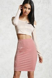 Forever 21 Crushed Velvet Pencil Skirt Pink