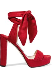 Jimmy Choo Kaytrin Suede Platform Sandals Red