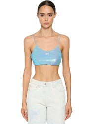 Off White Logo Sequined Crop Top Light Blue
