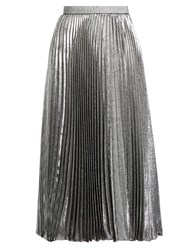 Christopher Kane Pleated Silk Blend Lame Skirt Silver