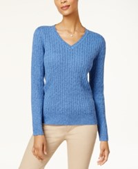 Karen Scott Cotton V Neck Cable Knit Sweater Created For Macy's New Navy Marl