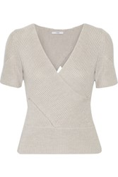 Tome Wrap Effect Ribbed Merino Wool Sweater Light Gray