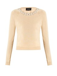 Simone Rocha Embellished Wool And Silk Blend Sweater Beige
