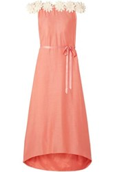 Miguelina Felicia Off The Shoulder Guipure Lace Trimmed Cotton And Silk Blend Satin Maxi Dress Coral