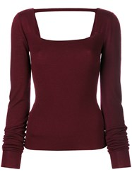 Chalayan Open Back Knitted Top Merino Red